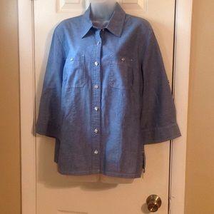 Karen Scott chambray button down shirt Sz: L